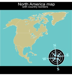 North America map with country borders vector image