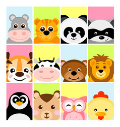 Adorable cute baby animals vector
