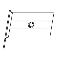 Argentina flag with flagpole icon outline style vector