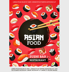 Asian food rolls and sushi japanese cuisine vector