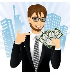bank representative holding a fan of money vector image