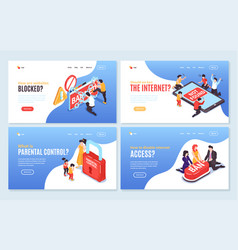 banned access banners set vector image