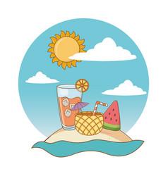 beach cartoon round label vector image