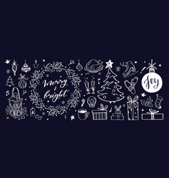 big set christmas design doodle elements vector image