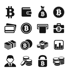 Bitcoin icons set vector