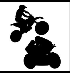 black silhouette of motorcyclist on white vector image
