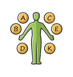 Body vitamins green yellow color icon a b c d e k vector