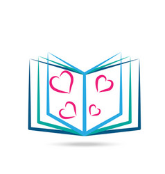 book reading with hearts icon vector image