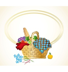 Bunch of food in the basket background vector image