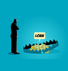 Businessman thinking of taking loans vector