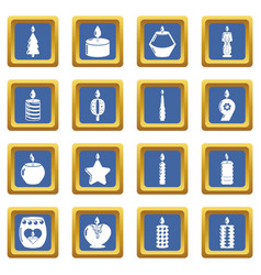candle forms icons set blue square vector image