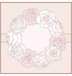 Card with rose frame in retro style vector image