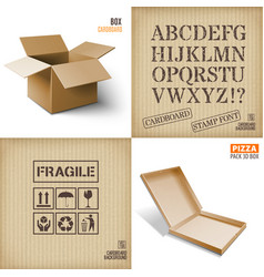 Cardboard set icons texturepizza box vector