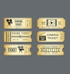 cardboard vintage cinema tickets vector image