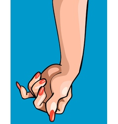 Cartoon hand with painted nails vector