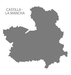 castilla - la mancha spain map grey vector image