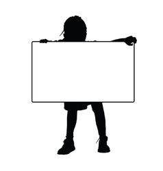 Child silhouette with card vector