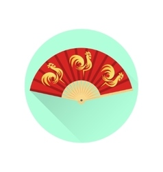 Chinese fan with gold roosters flat icon vector