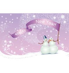 Christmas card snowmen vector