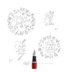christmas pen line monograms vector image