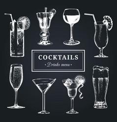 Cocktails menu hand sketched alcoholic beverages vector