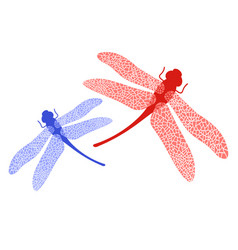 colored stilized dragonfly insect logo design vector image