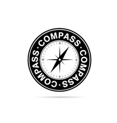 Compass in black and white color vector