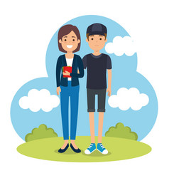 couple in the park characters vector image