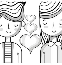 Couple lover with hairstyle design and hearts vector