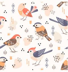 cute little folk birds pattern vector image
