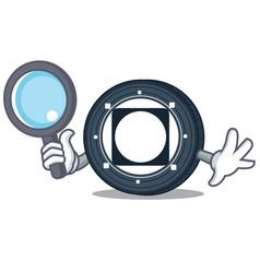 Detective byteball bytes coin character cartoon vector