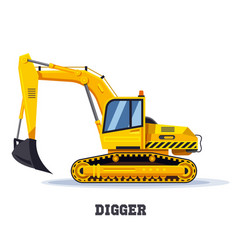 Digger excavator truck or backhoe tractor icon vector