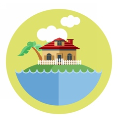 Digital land with water a house vector image