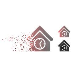 Disintegrating pixel halftone clock building icon vector