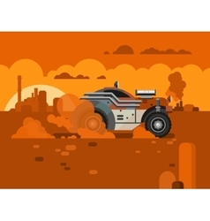Driving Fast Retro Car Through Desert vector image