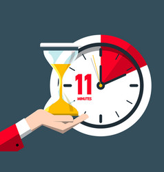 eleven minutes time symbol flat design clock icon vector image