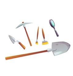 Excavation tools set cartoon vector