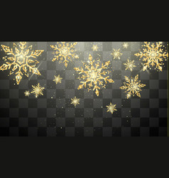 festive golden snowflakes isolated on transparent vector image