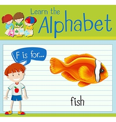 Flashcard alphabet F is for fish vector