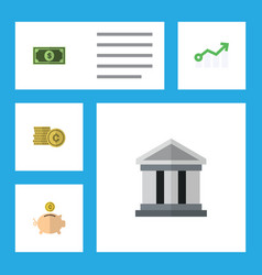 flat icon incoming set of money box greenback vector image
