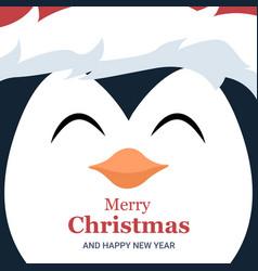 folleto tarjeta navidad de cara de pinguino vector image
