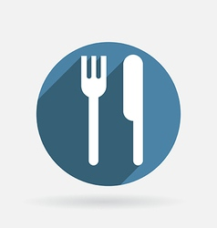 Fork and knife Circle blue icon with shadow vector