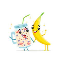 Funny characters of banana and fruit smoothie vector