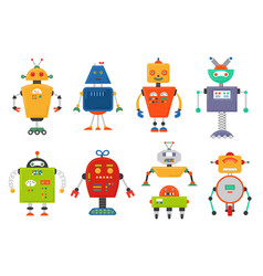 Funny isolated robot set future robots isolated vector