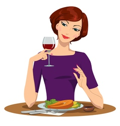 girl eating salmon Steak and drinking red wine vector image