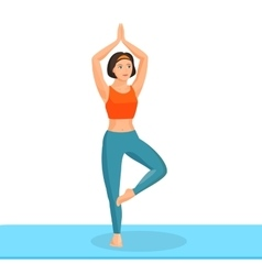 Girl practising yoga exercise stands on leg and vector