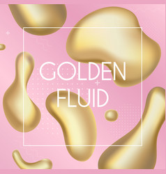gold liquid splash abstract shapes and luminous vector image