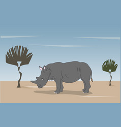 gray rhino is standing in nature vector image