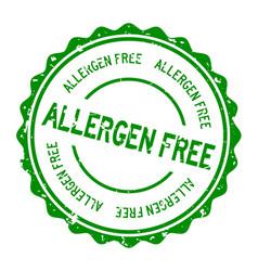 Grunge green allergen free word round rubber seal vector