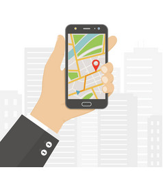 hand holding smartphone with gps navigation map vector image